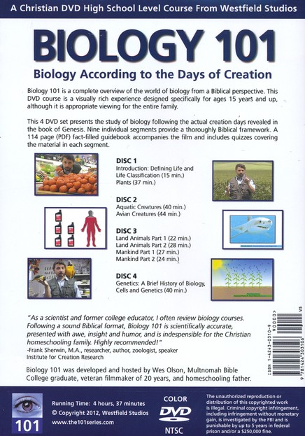 Biology 101: Biology According to the Days of  Creation, 4 DVDs