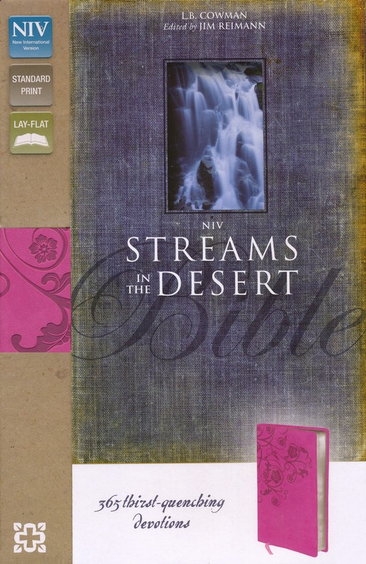NIV Streams in the Desert Bible: 365 Thirst-Quenching Devotions, Italian Duo-Tone, Raspberry