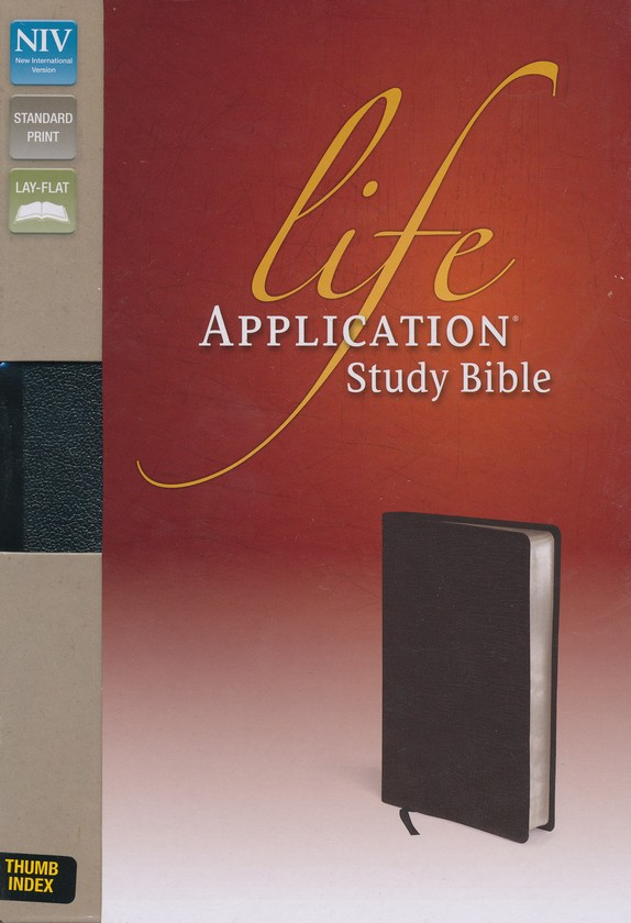 NIV Life Application Study Bible, Top-Grain Leather,  Black, Thumb-Indexed