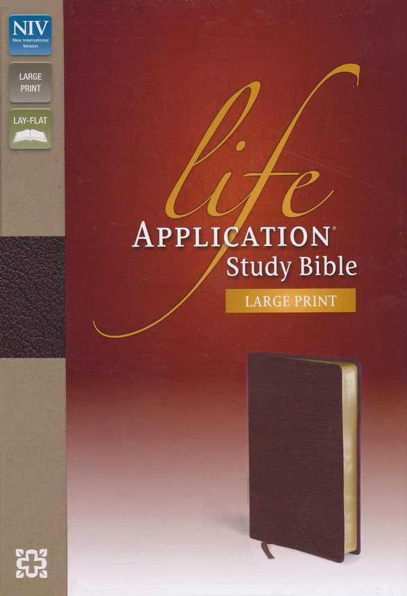 NIV Life Application Study Bible, Large Print, Bonded Leather, Burgundy, Thumb Indexed