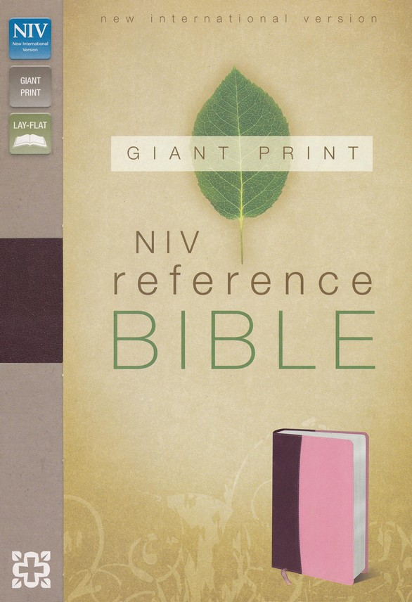 NIV Reference Bible, Giant Print, Burgundy/Pink Duo-Tone