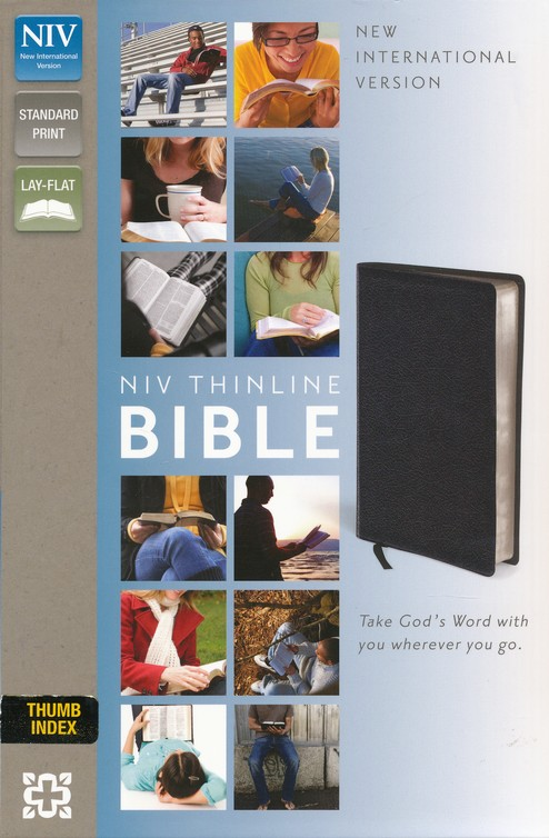 NIV Thinline Bible, Black, Thumb-Indexed