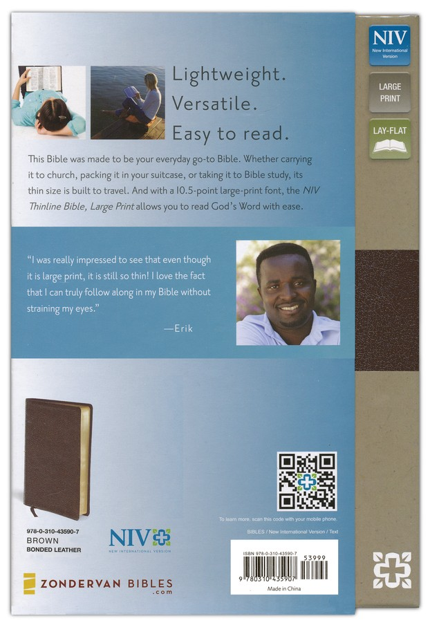 NIV Thinline Large-Print Bible, bonded leather--brown