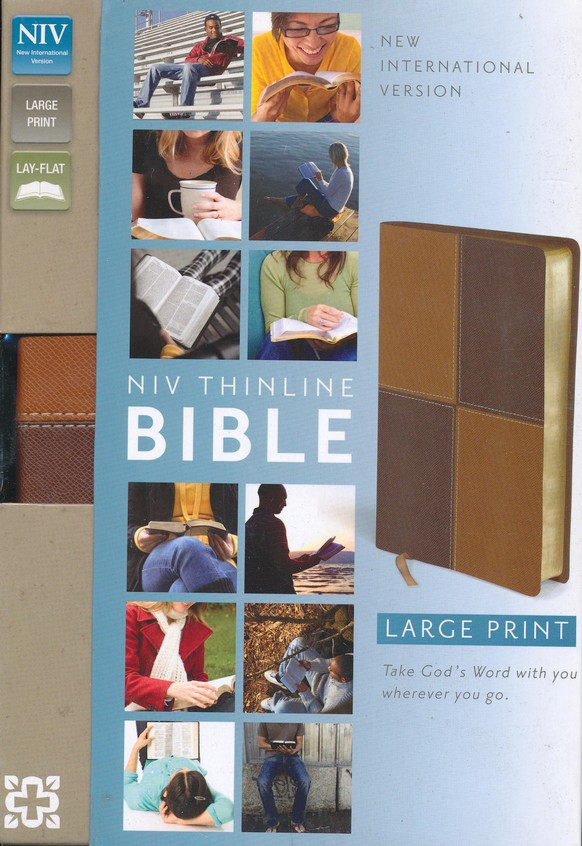NIV Thinline Large-Print Bible--soft leather-look, caramel/chocolate