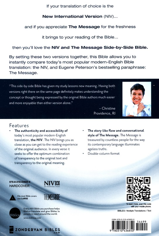 NIV and The Message Side-by-Side Bible, Two Bible Versions Together for Study and Comparison, Large Print