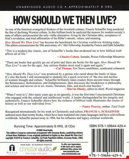How Should We Then Live? The Rise and Decline of Western Thought and Culture--CD