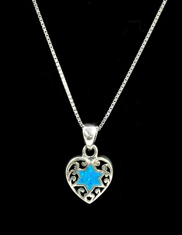 Opal Blue Star of David in Heart Necklace