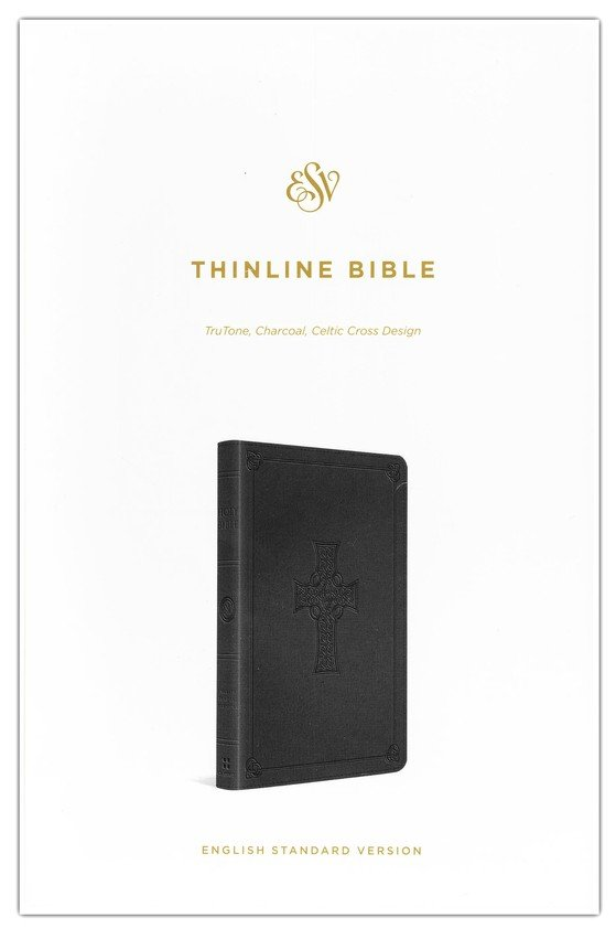ESV Classic Thinline, Imitation Leather Charcoal With Celtic Cross Design