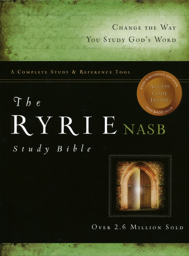 Ryrie NAS Study Bible Genuine Leather Black, Red Letter