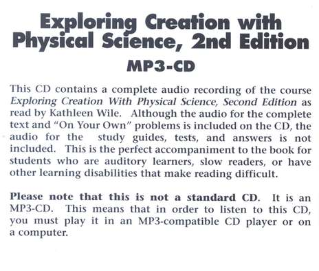 Exploring Creation with Physical Science MP3 Audio CD, 2nd Edition