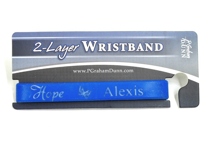 Personalized, Hope Wristband, With Name and Butterfly, Blue