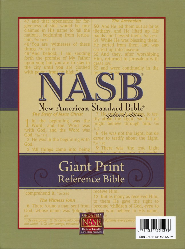 NASB Giant-Print Reference Bible, Genuine leather, Black  Black-indexed