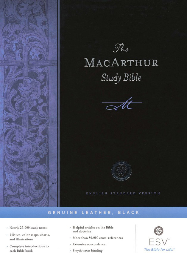 ESV MacArthur Study Bible, Black Genuine Leather