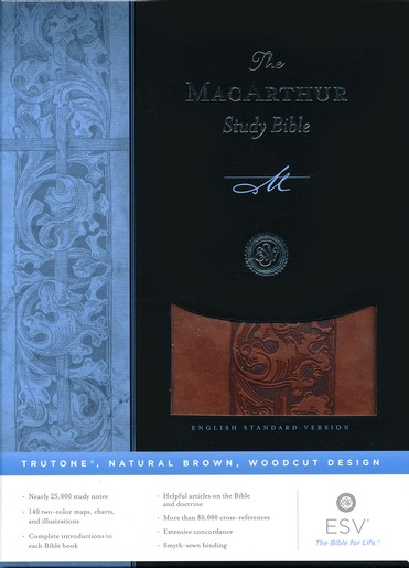 ESV MacArthur Study Bible, TruTone, Natural Brown, Woodcut Design