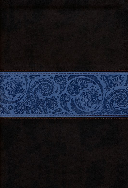 ESV Single Column Legacy Bible Chocolate/blue soft leather-look with paisley design