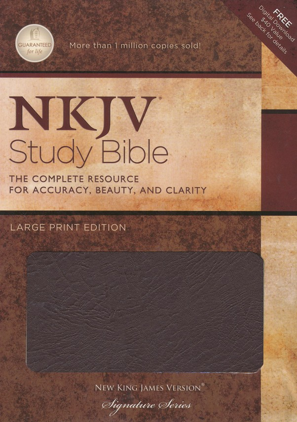 NKJV Study Bible- Large Print Edition, Burgundy Bonded  Leather Thumb-Indexed