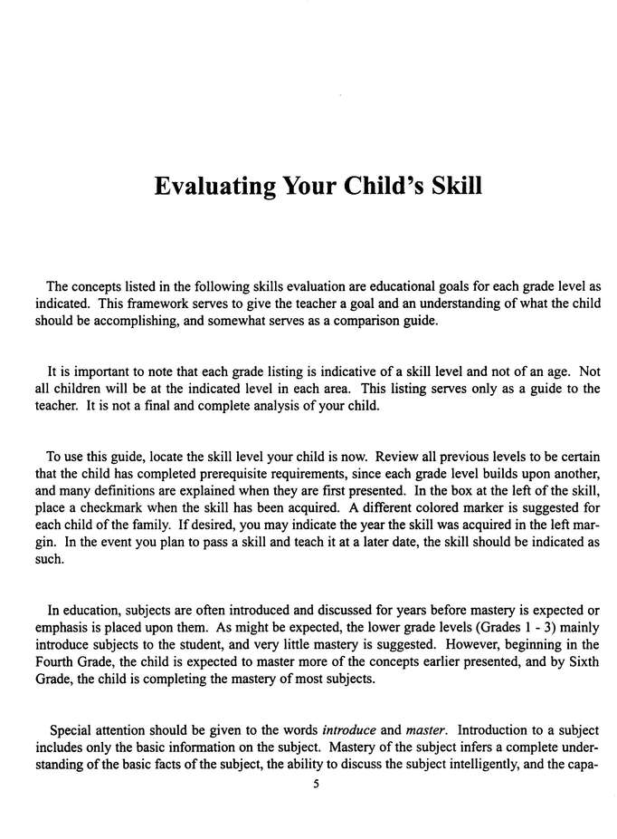 Skills Evaluation for the Home School Grades 1-6