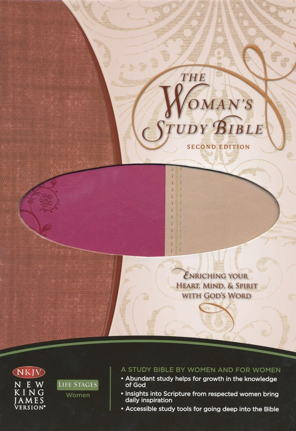NKJV Woman's Study Bible, Second Edition--soft leather-look, tan/cranberry