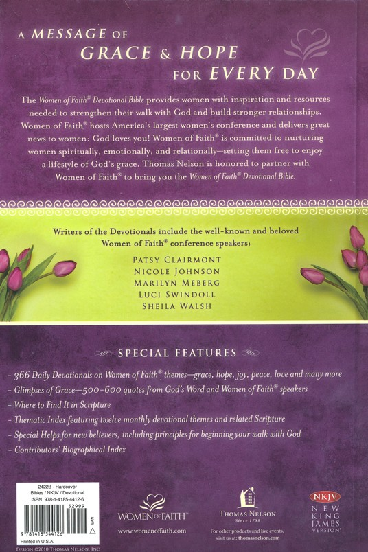 NKJV Women of Faith Devotional Bible: A Message of Grace & Hope for Every Day - Hardcover