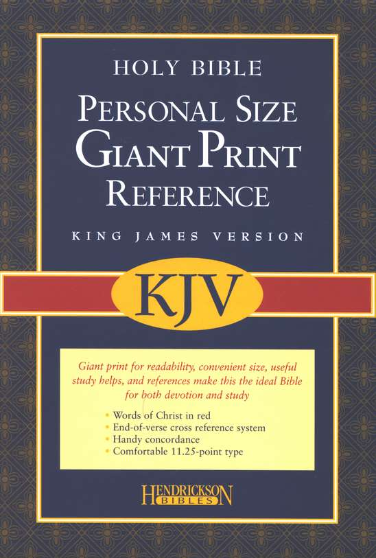 KJV Personal-Size Giant-Print Reference Bible--soft leather-look, burgundy
