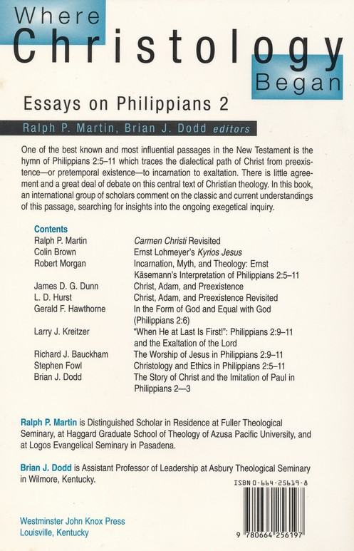 Where Christology Began: Essays on Phillipians 2