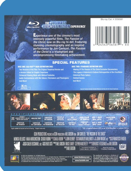 The Passion of Christ, Definitive Edition, Blu-ray