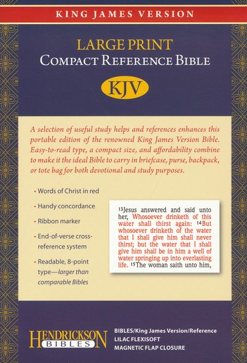 KJV Large Print Compact Reference Bible with Flap Flexisoft Lilac