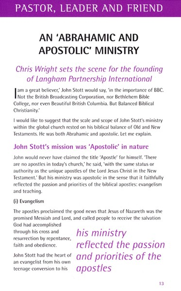 John Stott: Pastor, Leader and Friend