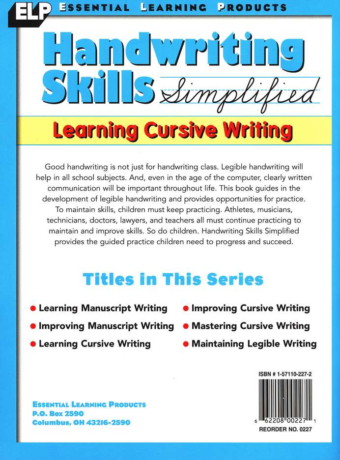 Handwriting Skills Simplified: Learning Cursive Writing Level C