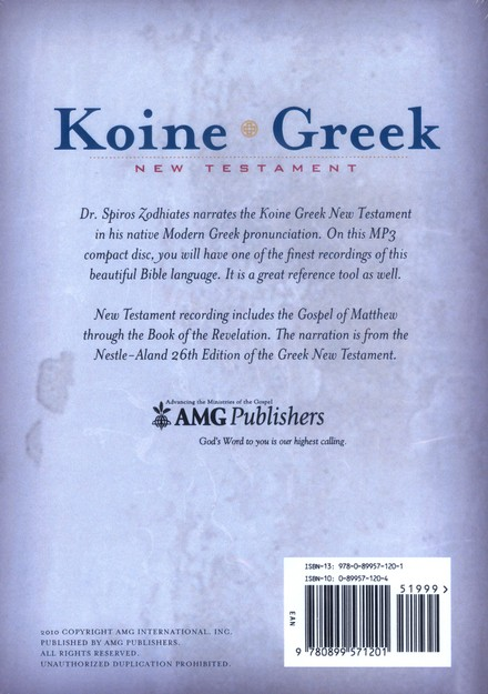 NA26 Koine Greek New Testament on MP3, Audio CDs