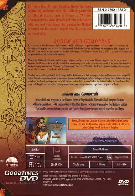 Sodom and Gomorrah,  Greatest Heroes and Legends of the Bible DVD