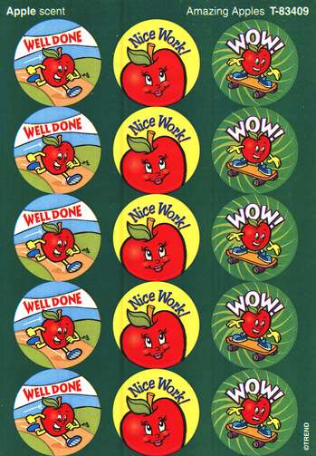 Amazing Apples Large Round  Scratch and Sniff Stickers