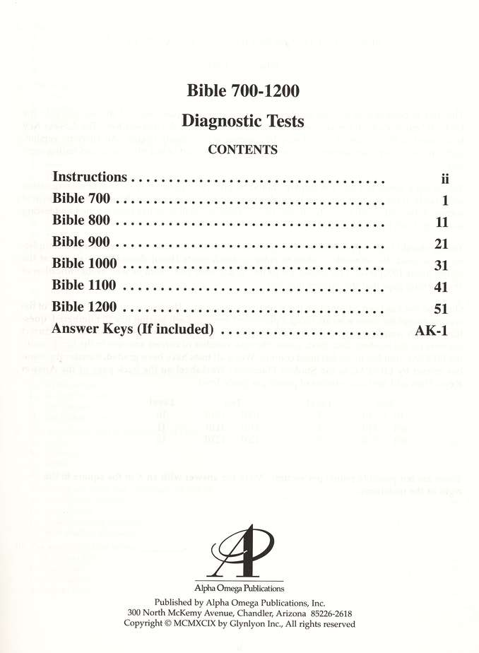 Set of 5 Diagnostic Tests, Grades 7-12