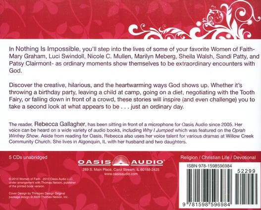 Nothing Is Impossible: A Women of Faith Devotional--  Unabridged Audiobook on CD