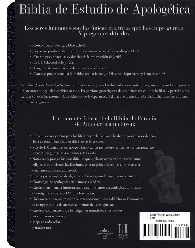 Biblia de Estudio Apologetica RVR 1960, Piel Imit. Negro  (RVR 1960 Apologetics Study Bible, Imit. Leather Black)
