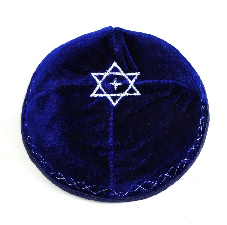 Velvet Kippah: Star with Cross, Navy Blue