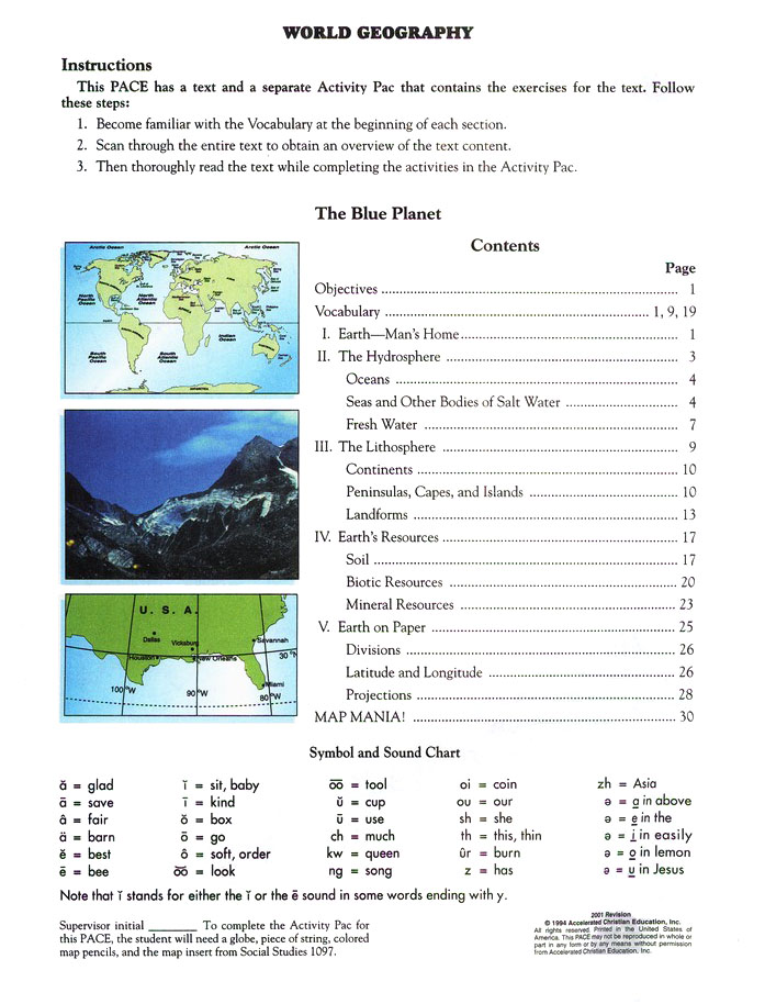 World Geography PACE 1098, Grade 9