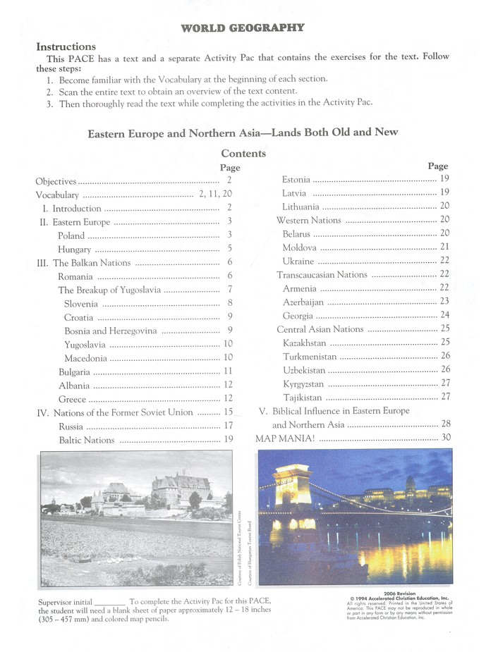 World Geography PACE 1105, Grade 9