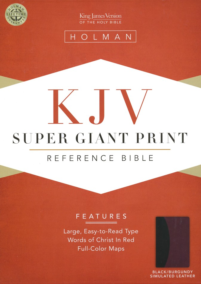 KJV Super Giant Print Reference Bible, Black & Burgundy Simulated Leather