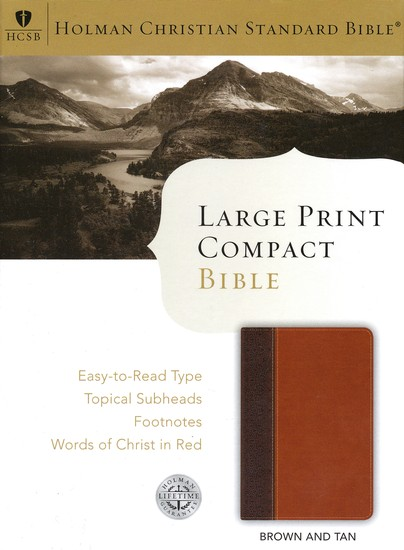 HCSB Large Print Compact Bible, Brown & Tan Simulated Leather
