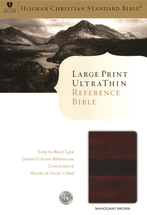 HCSB Large Print UltraThin Reference Bible, Mahogany Simulated Leather