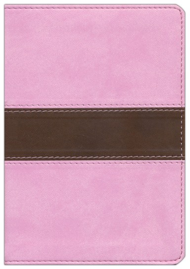 KJV Large Print Compact Bible, Pink & Brown Simulated Leather