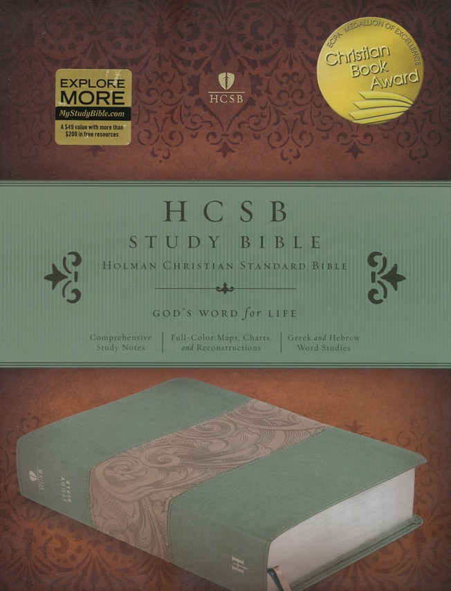 HCSB Study Bible, Teal/taupe soft leather-look