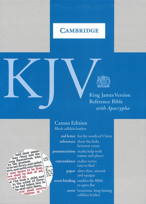 KJV Cameo Reference Bible with Apocrypha, Calfskin, black