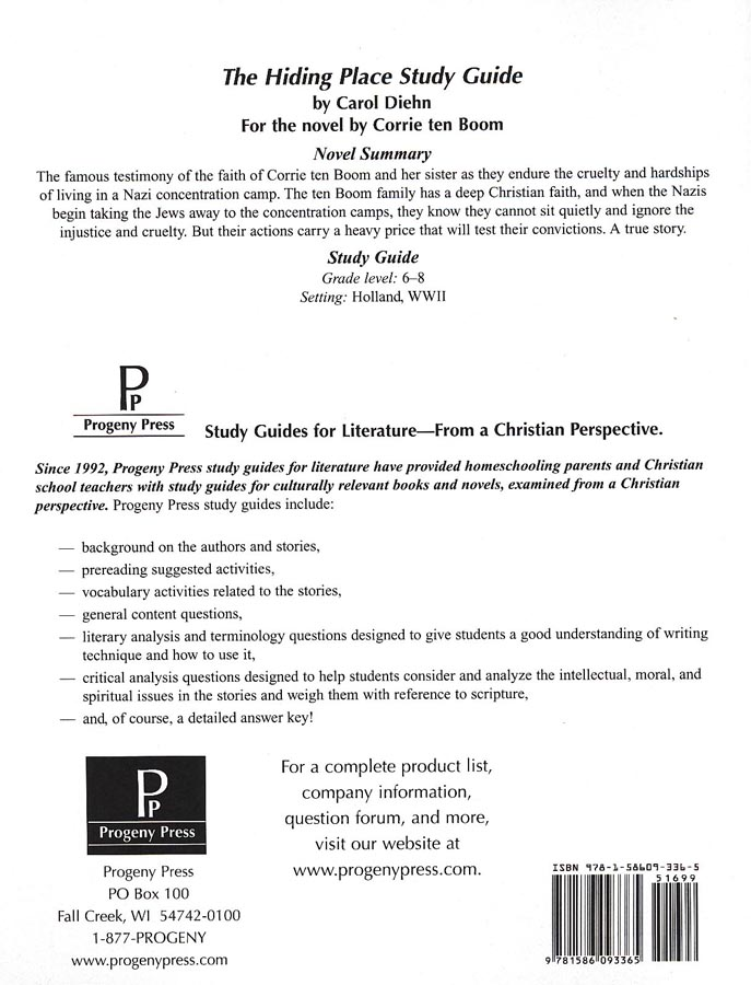 The Hiding Place Progeny Press Study Guide