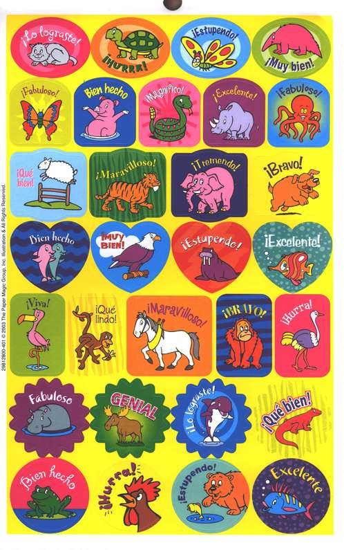 Paquete de 536 Calcoman&#237as en Espa&#241ol  (536 Spanish Stickers Book)