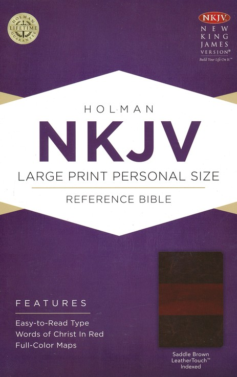 NKJV Large Print Personal Size Reference Bible, Saddle Brown LeatherTouch, Thumb-Indexed