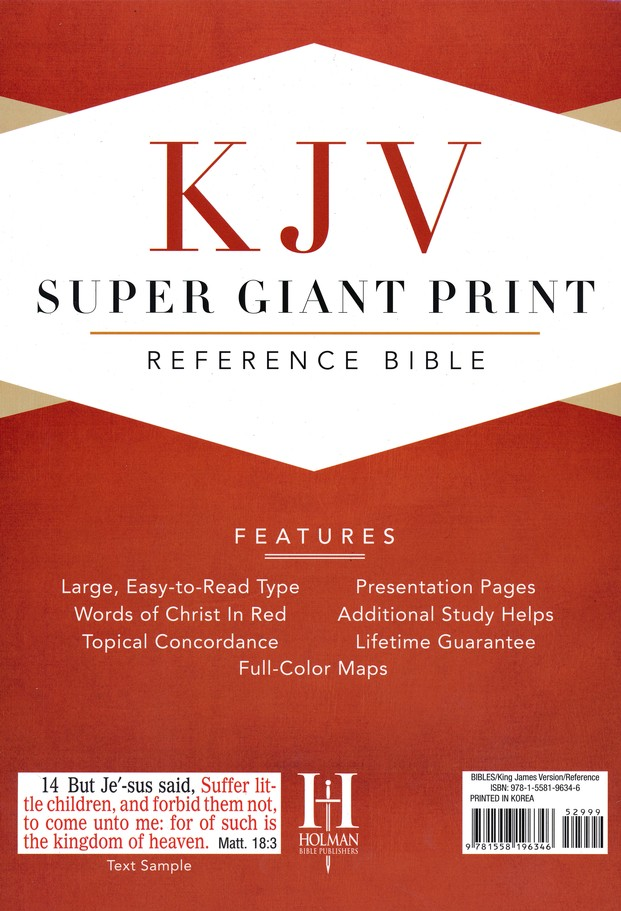 KJV Super Giant Print Reference Bible, Imitation leather, black