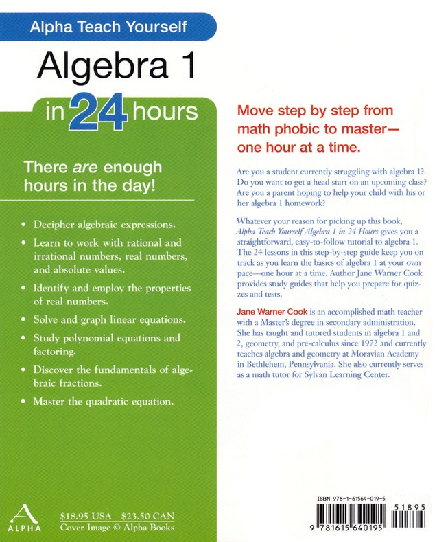 Teach Yourself Algebra 1 in 24 Hours