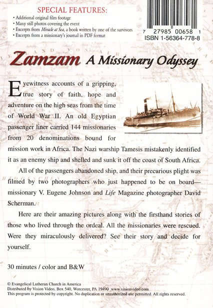 The Incredible Story of the ZamZam: A Missionary Odyssey, DVD